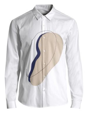 SOLID HOMME Ear Graphic Button-Down Shirt