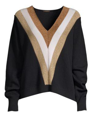 Wool & Lurex V-Neck Sweater
