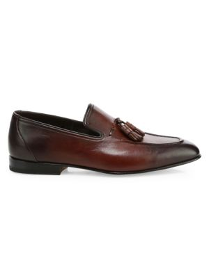 SANTONI Garcia Leather Tassel Loafers