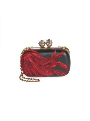 QUEEN & KING CLUTCH FEATHER BAG