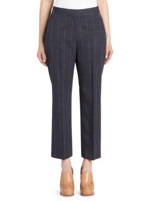 Crop Grid Wool Trousers