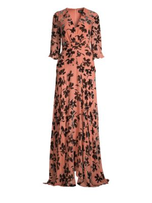 SALONI Edith Burnout Velvet Dress