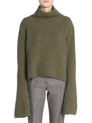 Rib-Knit Wool & Cashmere Turtleneck Sweater