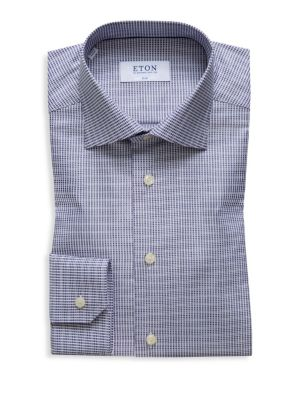 Slim-Fit Textured Check Dress Shirt