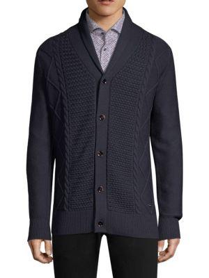 Regular-Fit Cable Knit Virgin Wool Cardigan