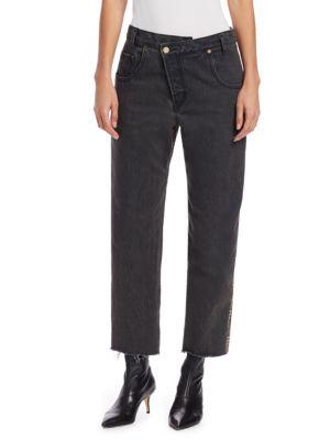Half & Half Plaid-Back Jeans