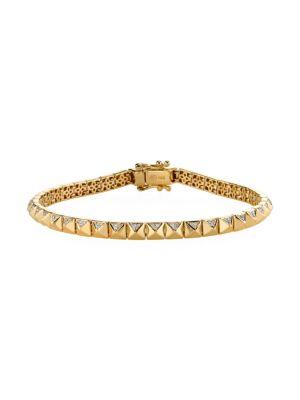 14K Yellow Gold & Diamond Small Pyramid-Link Bracelet