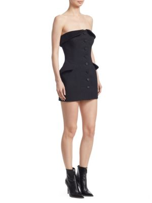 Strapless Silk Satin-Trimmed Wool-Gabardine Mini Dress, Black