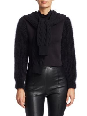 Cropped Cable Knit Tie Mockneck Sweater