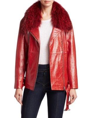 Emilia Fox-Fur Trimmed Leather Jacket