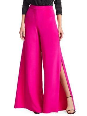 Silk Wide-Leg Slit Pants