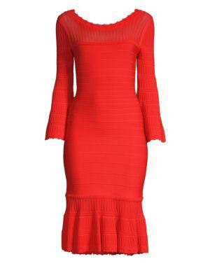HERVE LEGER Knit Long-Sleeve Flounce Dress