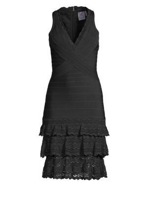 V-Neck Tiered Bandage Dress