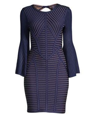 HERVE LEGER Jacquard Bell Sleeve Sheath Dress