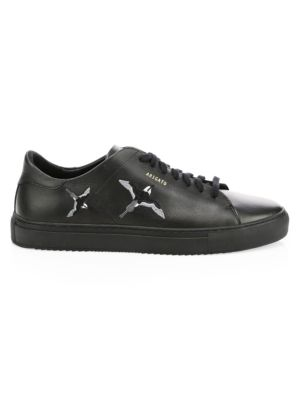 Clean Bird-Embroidered Leather Sneakers