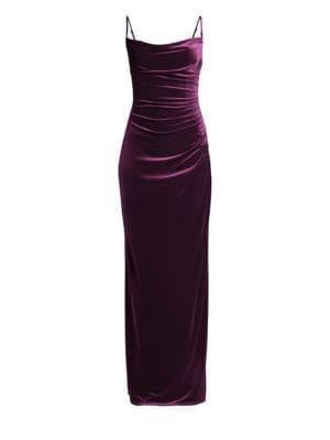 LAUNDRY BY SHELLI SEGAL Long Velvet Column Dress