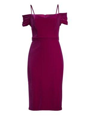 LAUNDRY BY SHELLI SEGAL Velvet Cold-Shoulder Sheath Dress