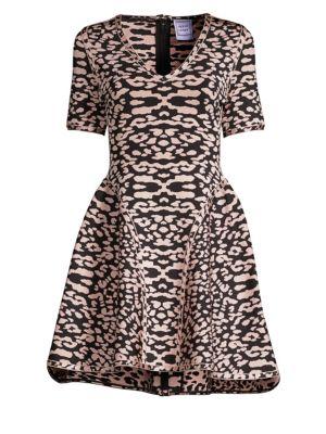 HERVE LEGER V-neck Animal Print Midi Dress