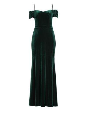 LAUNDRY BY SHELLI SEGAL Velvet Cold-Shoulder Gown