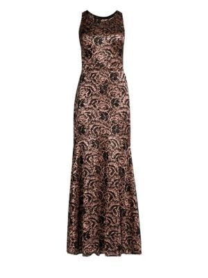 LAUNDRY BY SHELLI SEGAL Lace & Sequin Mermaid Maxi Dress