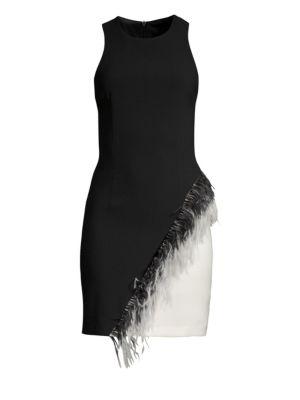 LAUNDRY BY SHELLI SEGAL Crepe Asymmetric Sheath Dress