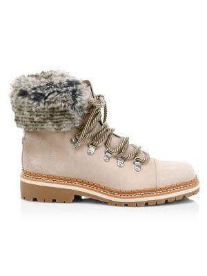 Bowen Bistro Suede & Faux Fur Hiking Boots