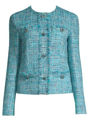 JEWELED-BUTTONS FITTED TWEED JACKET W/ FRINGE TRIM