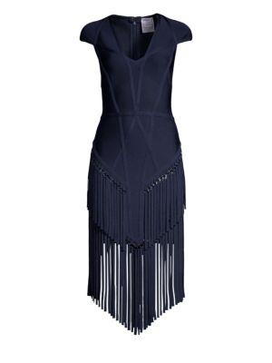 HERVE LEGER Cap Sleeve Fringe Sheath Dress