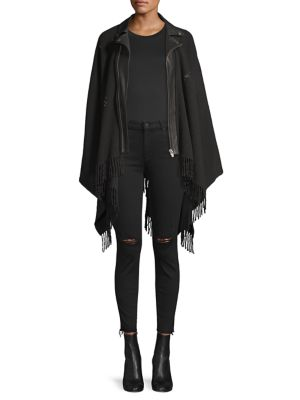 THE KOOPLES | Wool & Leather Fringed Moto Poncho | Goxip