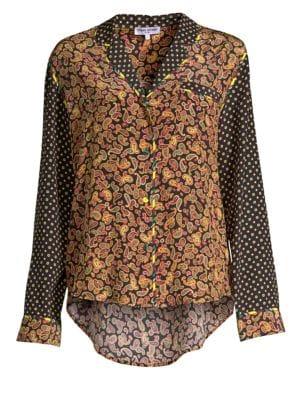 Paisley Print Silk Blouse