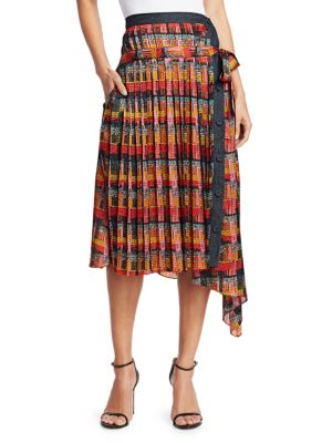 Print Satin Chiffon Wrap Skirt