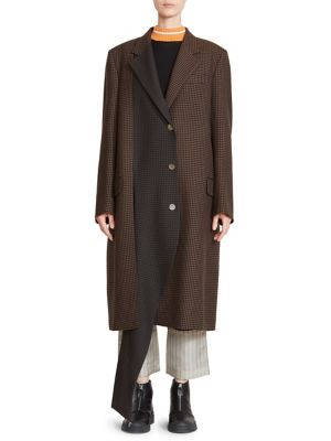 Asymmetric Check Coat