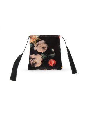 Floral-Print Velvet Pouch
