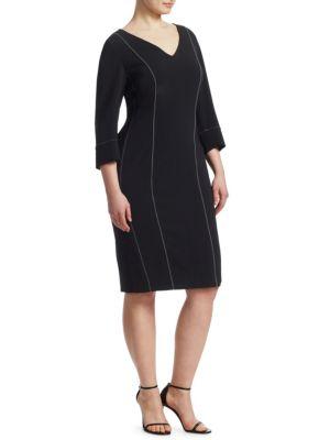 Fitted V-Neck Sheath Dress