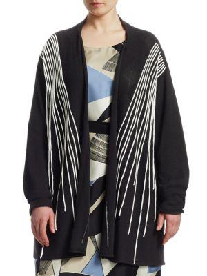 MARINA RINALDI Stitch A-Line Cardigan in Black
