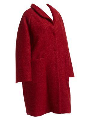 Bouclé Wool Cocoon Coat