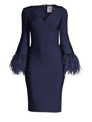 Feather-Trim Bandage Dress