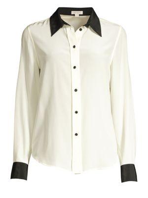 Silk Button-Down Top