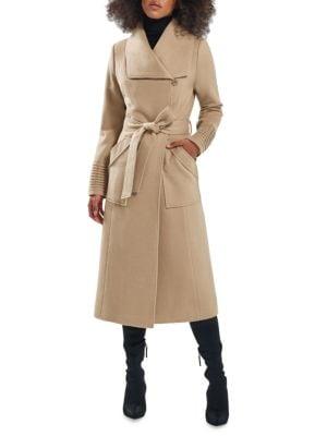 Long Wide-Collar Alpaca Wrap Coat