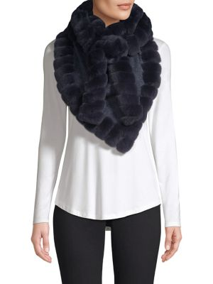 GLAMOURPUSS | Bohemian Rabbit Fur-Trim Cashmere Blend Knit Scarf | Goxip