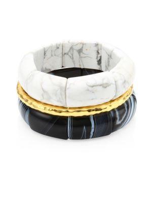 Black and White Agate & 24K GoldplatedStretch Bracelet