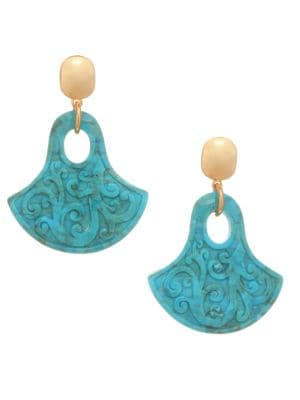NEST Carved Turquoise & 24K Goldplated Statement Earrings