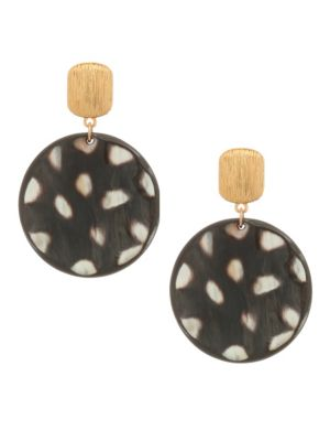 24K Goldplated Spotted Horn Disc Earrings
