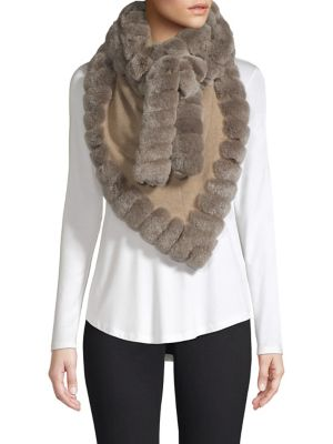 GLAMOURPUSS Rabbit Fur Trimmed Cashmere Wrap Scarf in Taupe
