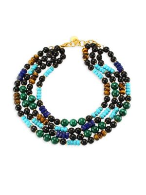 NEST Malachite, Turquoise, Lapis & Horn Collar Necklace