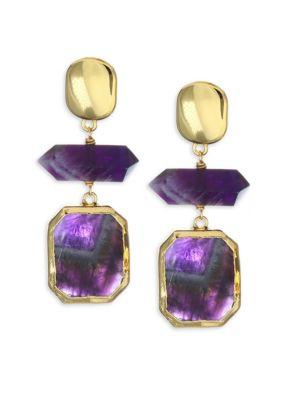 Amethyst & 24K Goldplated Drop Earrings