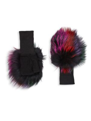 Fox Fur & Suede Fingerless Gloves
