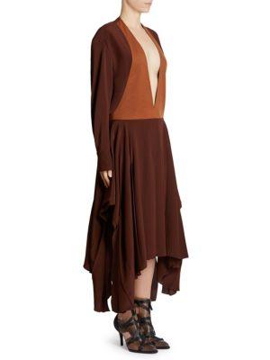 Two-Tone Deep V-Neck Long-Sleeve Midi Dress