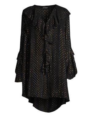 THE KOOPLES Frill Metallic V-Neck Silk Mini Dress