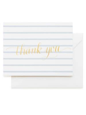 Sweet Thank You Blue Stripe Note Set/Set of 6